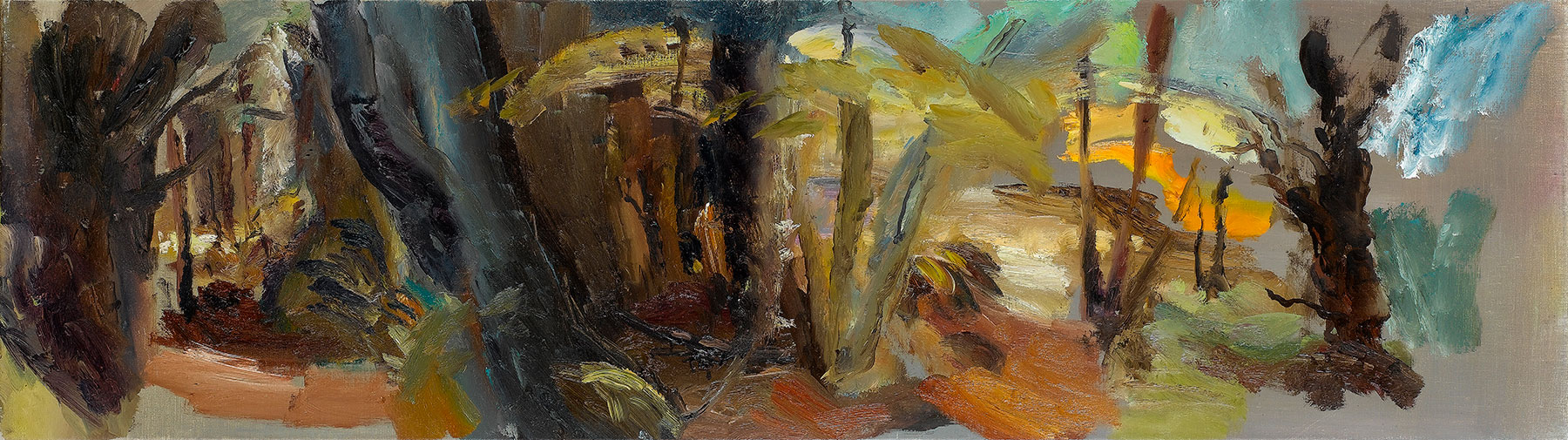Farwood Summer Pathways, 1984, 50.5 x 183 cm, oil on canvas