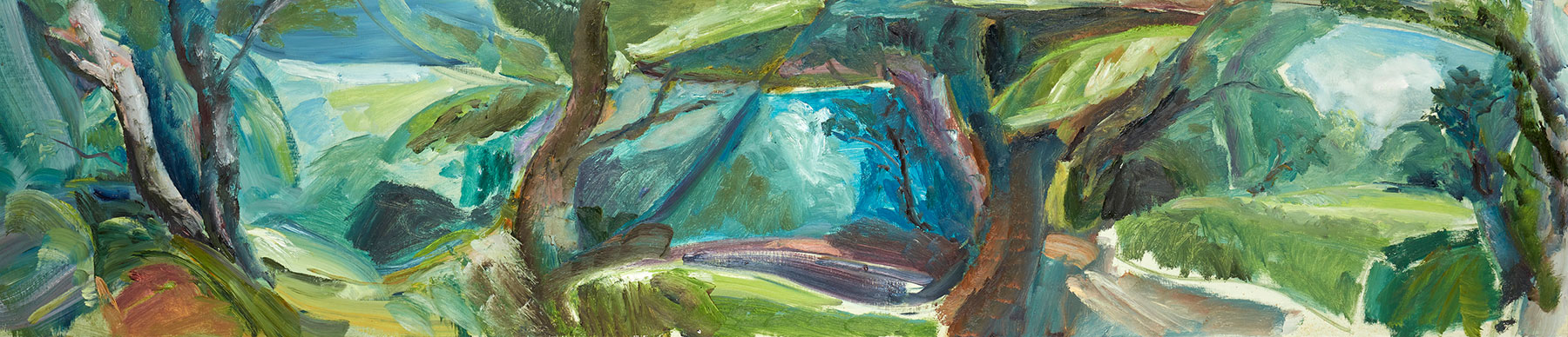 July Woodland Enclosures, 1983, 46 x 211 cm, oil on canvas