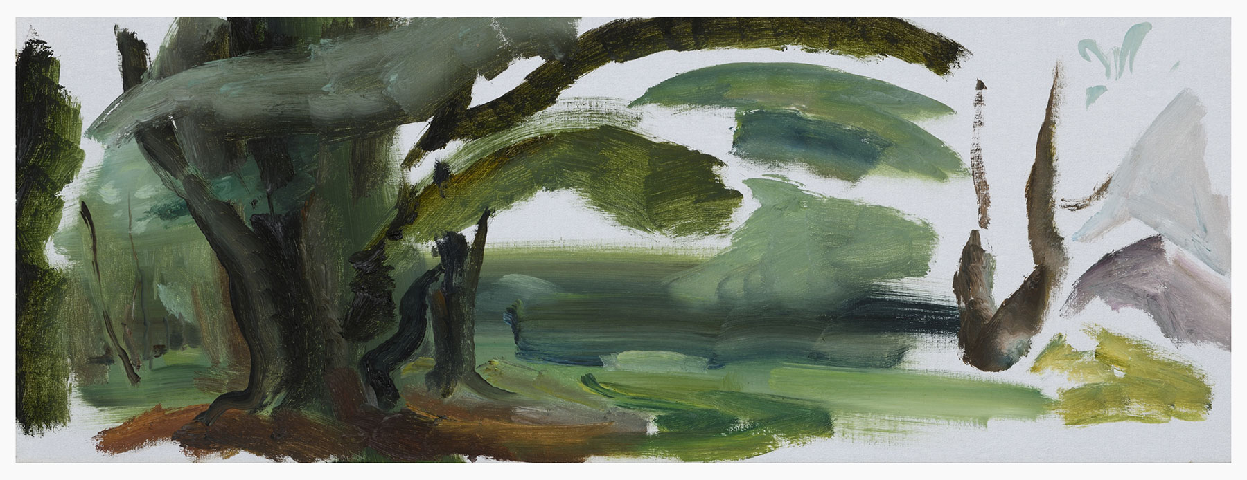 Tegleaze Woods, 1985, 40.5 x 109 cm, oil on canvas