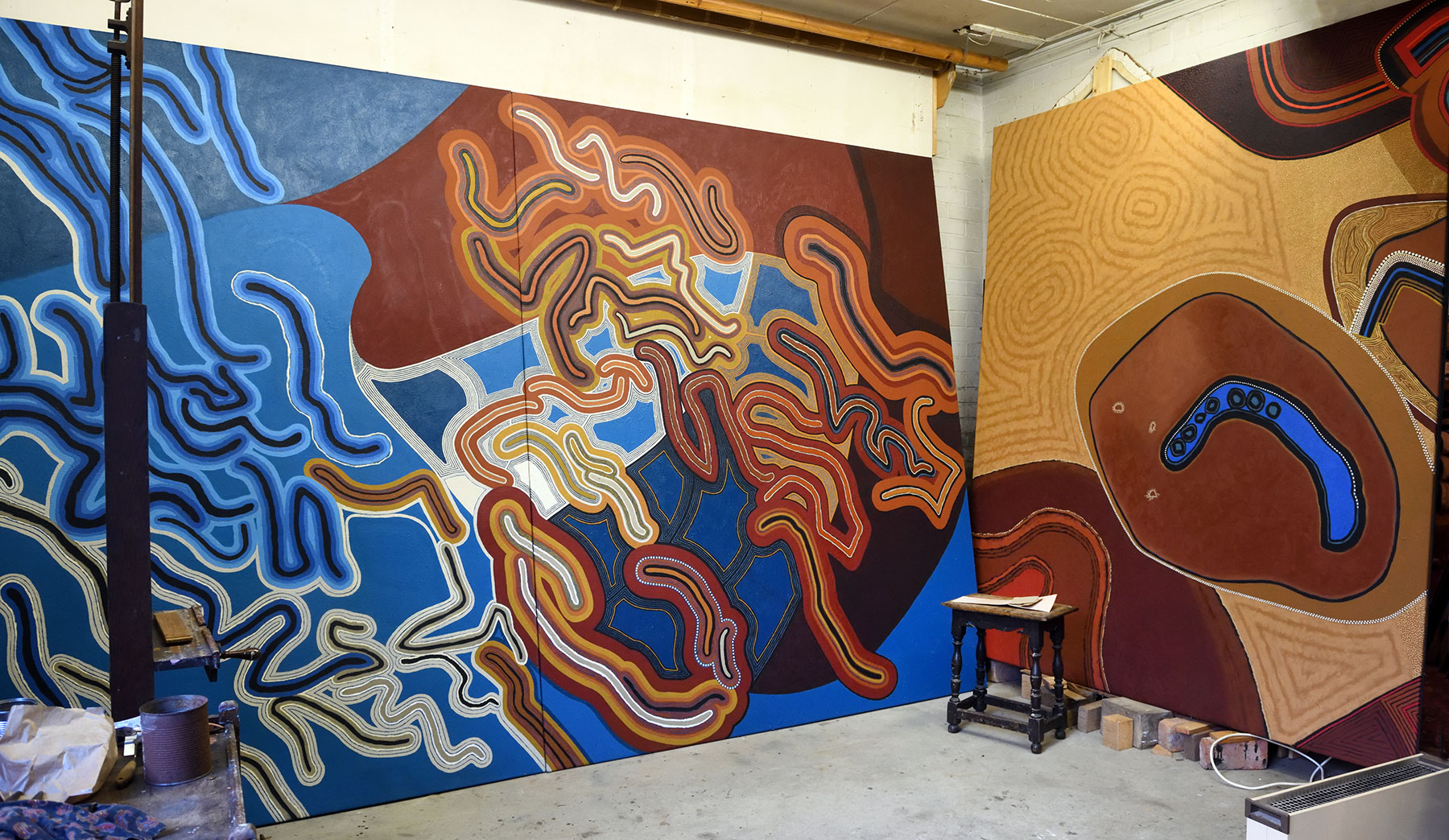 Studio view with 'Evolving Boundaries', 2006, and 'Emerging', 2005 (section).