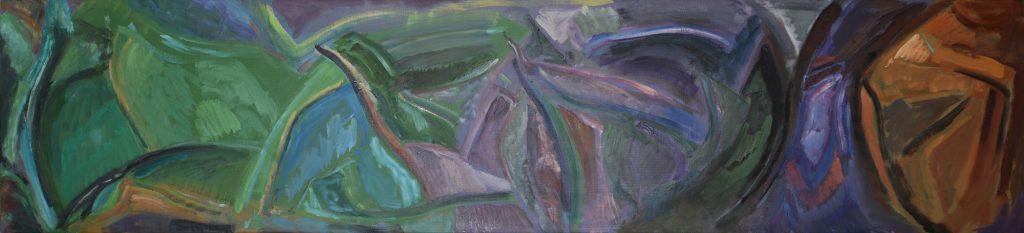 'Grounds' 2018, 84 x 264 cm oil on canvas