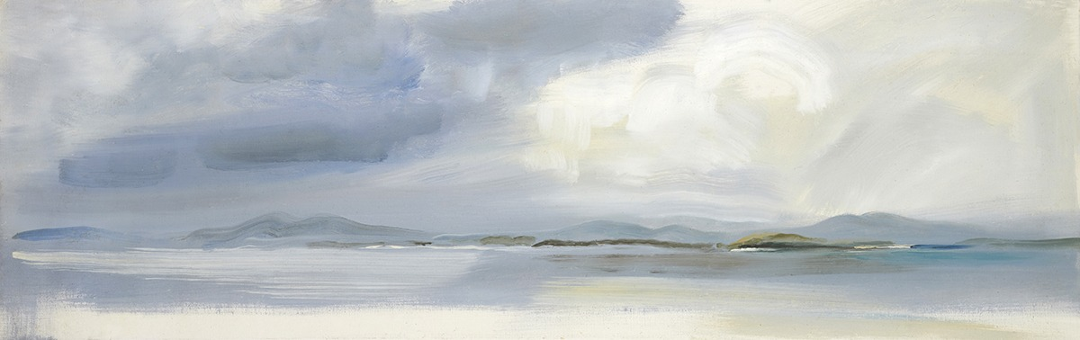 North Uist, Tide and Distant Hills, 1969, 35.5 x 111.5 cm, oil on canvas